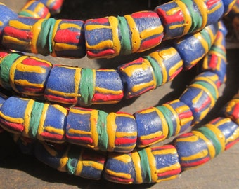 African recycled glass beads, 1 strand, 14/15 powdered glass beads, Kente design,Fair Trade