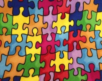 Rainbow Puzzle Double Sided Fleece Blanket