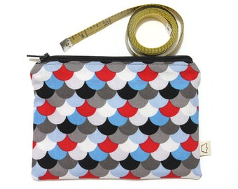 Zipper pouch, blue red grey white and black notions pouch or pencil case