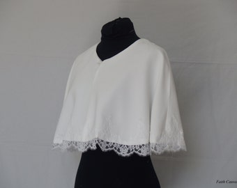 White wedding Cape, lace, wedding, Bridal stole accessory