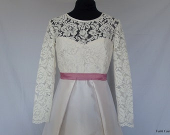 Short wedding silk mikado and lace dress