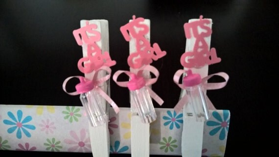 10 baby shower girl wood clothespins white and by lilianasdecor
