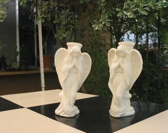 Beautiful Pair of Vintage Ceramic Praying Angel Candleholders