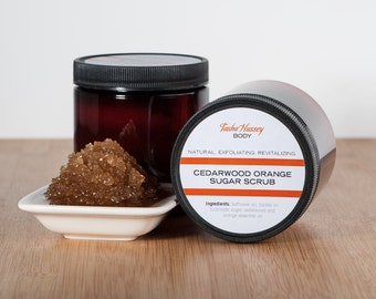 Men's Cedarwood Orange Sugar Scrub, Cedarwood Sugar Scrub, Orange Sugar Scrub, Natural Sugar Scrub