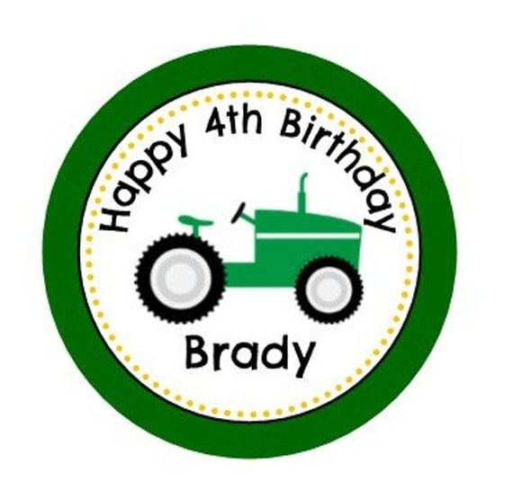 Personalized Tractor Theme Thank You Tag Or Sticker 2 Circle