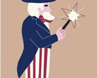 Uncle Sam Handcrafted Applique House Flag