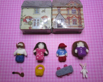 Tiny Felted Family in a Tin house