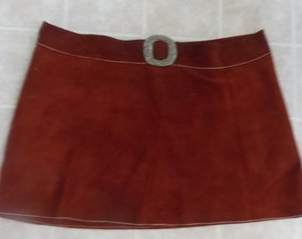 BIG SALE Vintage 60'S Hip Fitted Suede Mini Skirt