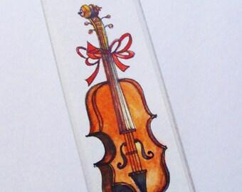 Original Watercolor Bookmark - Cello