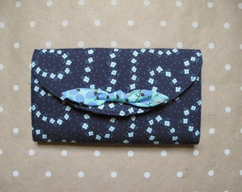 ON SALE! Navy Floral Print Tri-Fold Bow Wallet