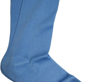 Luxury Natural Ribbed %100 Cotton Fine Casual Dress Sky Blue Socks Solid US8.5-9.5-EU 42-43,5
