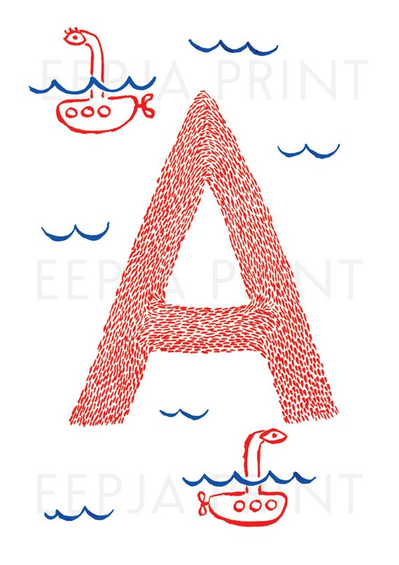 Letter A A3 Printable Wall Art Nautical Decor Ink Drawing