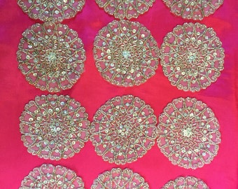 12 Round Antique Silver Beaded Rhinestone Appliqués. Round Appliqués, Silver Appliqués, Beaded Appliqués,DIY Projects,Bridal Decor.