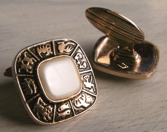 Vintage Square Zodiac Signs Cuff Links Gold Tone with Faux Pearl Men's Jewelry