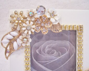 White Wood Photo Frame. Perfect Wedding shower, Birthday, Anniversary, Graduation Gift.