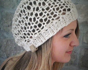 Bamboo Silk Slouchy Hat in Light Beige -  Knit Hat, Summer Hat, Spring Hat, Boho Hat, Bohemian style hat, vegan-friendly hat, light knit hat