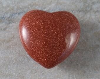 Medium 35 mm Carved Goldstone Puffed Heart Shaped Stone