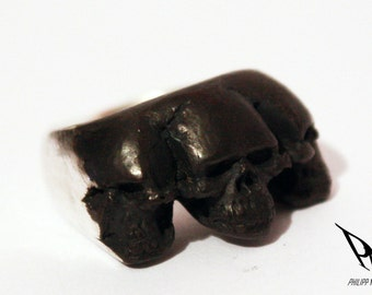 Triple Miniskull Ring by PMC Skull ring 925 Silver