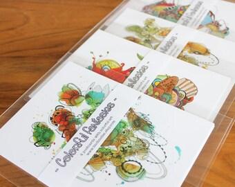 "Fine art print - Postcard set of 4 cards  ""Colorful fantasies"""
