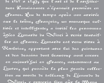 "12"" x 12"", Americana Decor-Stencil-Old French Script, Reusable Stencil"