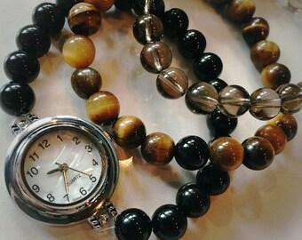 Handmade Gemstone Wrist Mala Watch STACK (3): Smokey Quartz / Tiger's Eye / Black Onyx