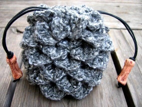 Dragon Egg Dice Bag Crochet Pattern : Crochet dragon scale dice bag grey and white drawstring