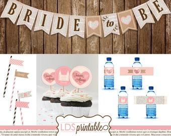 LDSP010 - Bride to Be LDS Bridal Shower Banner Cupcake Topper Water Bottle Label Set