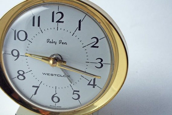 Westclox Baby Ben Wind Up Alarm Clock. White With Brass Trim