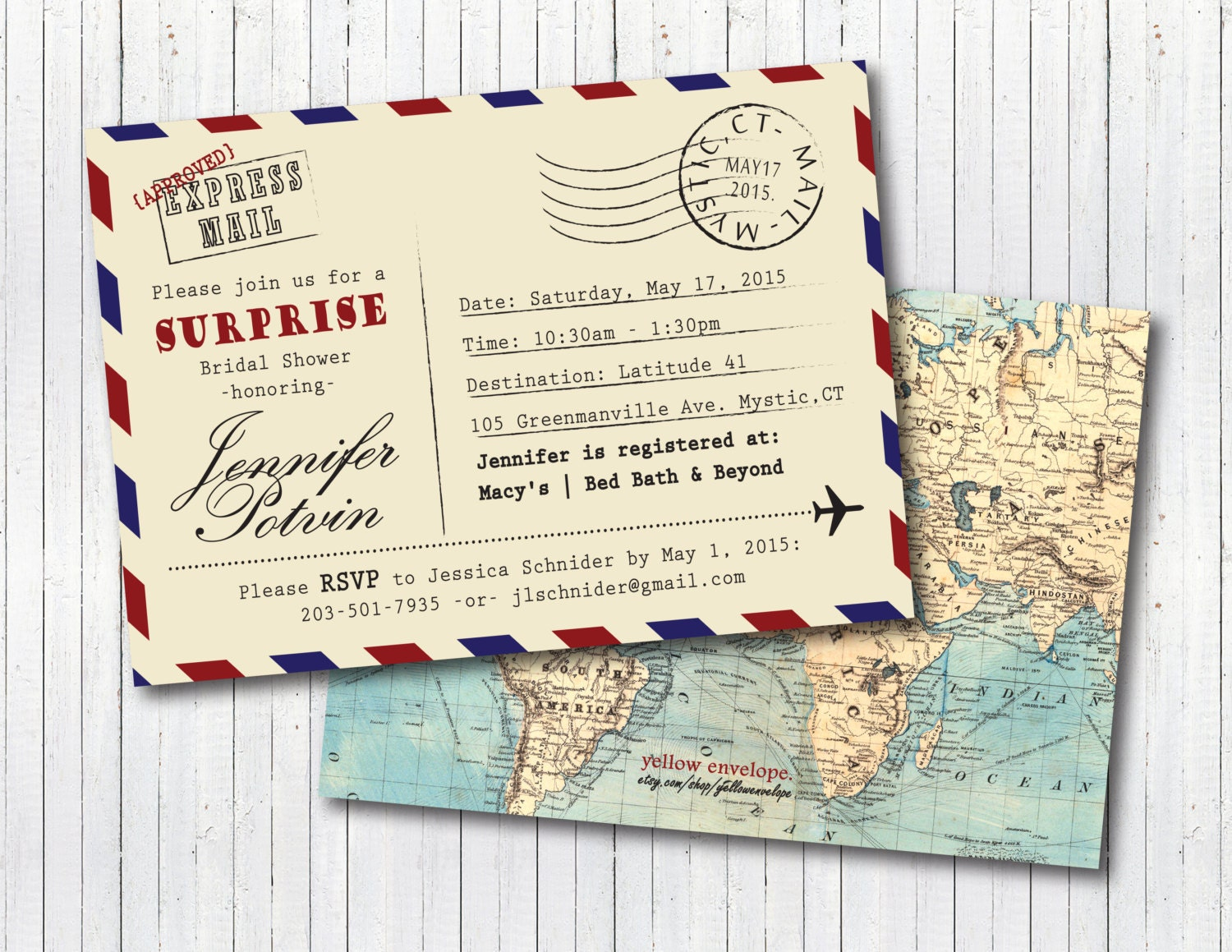 Postcard Wedding Shower Invitations: Vintage Travel Theme Post Card Stamped Special Delivery Bridal