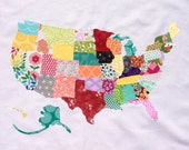 Handmade Fabric Scrap Map of The United States // USA