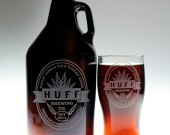 Dad gift of HomeBrew Growler and 2 Glass set  with Double oval with middle banner art.Homebrew,Beer Gift,fathers day gift,