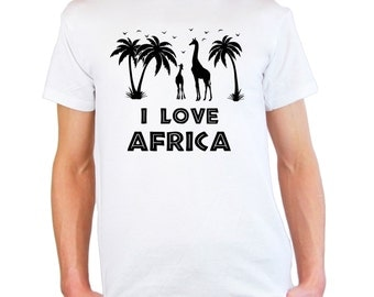 Mens and Womens T-Shirt with Palms, Birds & Giraffes Silhouettes Design / Giraffe Quote I Love Africa Shirts + Free Decal Gift
