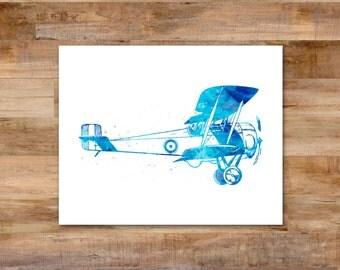 Vintage Airplane 1 Watercolor digital print - 8 x 10 printable