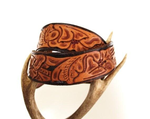 vintage tooled leather belt desert pattern