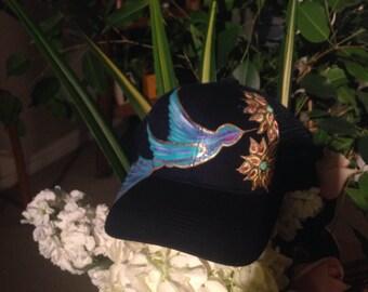 hand Painted Hummingbird Trucker Hat