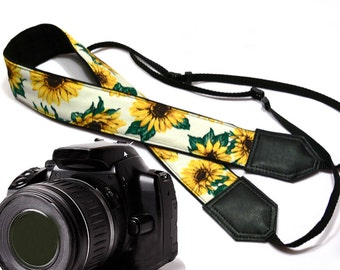 Sunflowers Camera strap.  Flowers camera strap.  DSLR / SLR Camera Strap. Camera accessories.