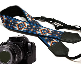 Native American inspired Camera strap.  Southwestern Ethnic DSLR / SLR Camera Strap. Durable, light weight, well padded camera strap