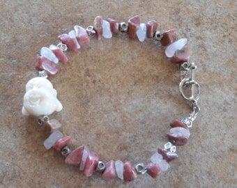 Hotai Buddha Bracelet with Rose Quartz and Rhodonite beads