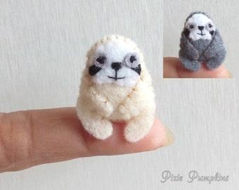 Felted Miniature Sloth, Sloth Miniature, Miniature Felt Sloth, Tiny Sloth, Felt Stuffed Plush Toy, Felt Plush Animal, Rain Forest Animal