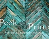 4ft.x3ft. Peeling Teal Angled Wood Floor Vinyl Photography Backdrop