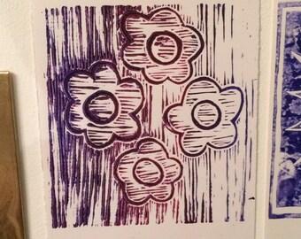 Ombre Flower Linoprint