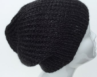 Hand knit black hat, slouchy black hat. Slouchy black beanie.