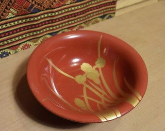 Japanese Antique Red Lacquer Bowl with Gold Irises
