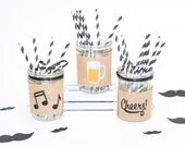 Centrepiece for Beer themed party, CHEERS Mason Jar Wraps, Beer Decoration