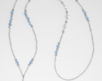 Light Sapphire Crystal Pearl Lanyard// ID Badge Holder