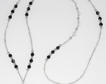 Black Crystal and White Pearl Lanyard// ID Badge Holder