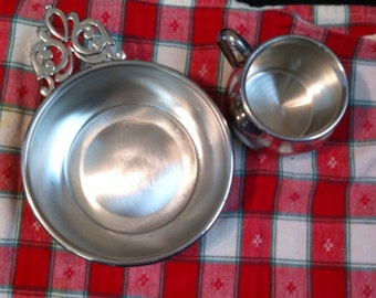 Beautiful Polished Pewter Porringer Bowl and Cup
