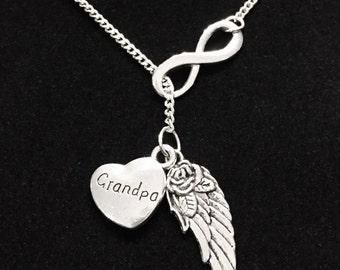 Infinity Guardian Angel Wing Grandpa In Heaven Memory Y Lariat Necklace