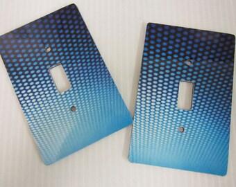 2 light switch covers, blue dot pattern design