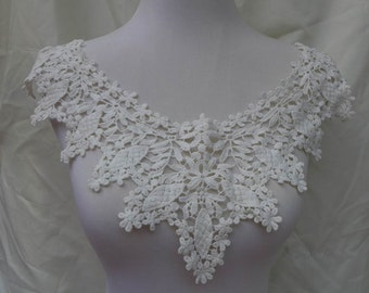 cream cotton collar applique crochet daisies floral lace collar sewing applique supply